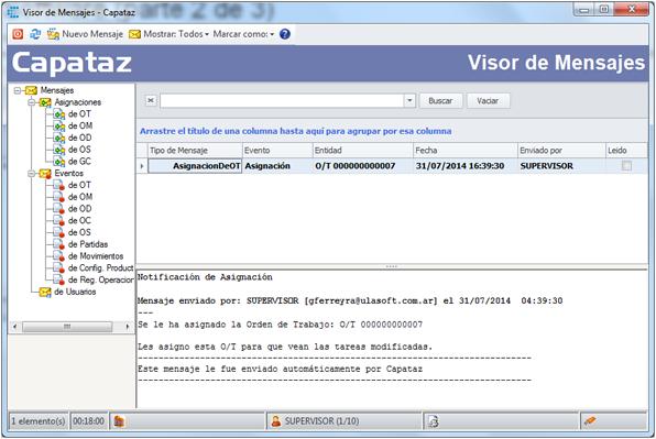 Mensajería en CAPATAZ Software - Visor de Mensajes