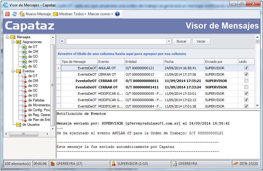 Visor de Mensajes de CAPATAZ Software
